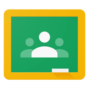 Logo for Google Classroom a gold framed chalkboard with a three person icon in the middle